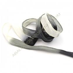 Tira de seda natural india negra gris y blanca veteada de 20 mm