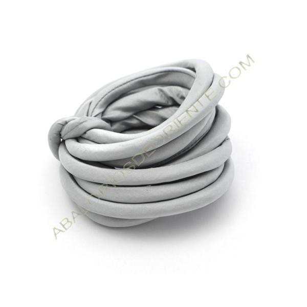 Cordón de seda natural india relleno 8 mm gris perla de 2 metros