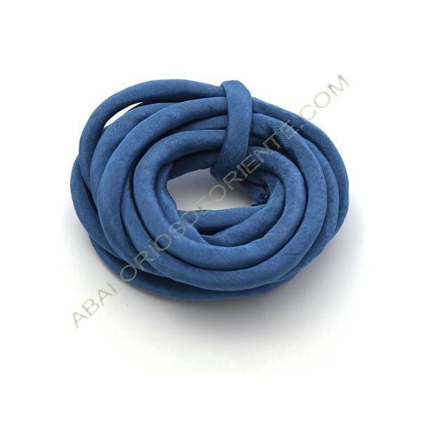 Cordón de seda natural india relleno 8 mm azul cobalto de 2 metros