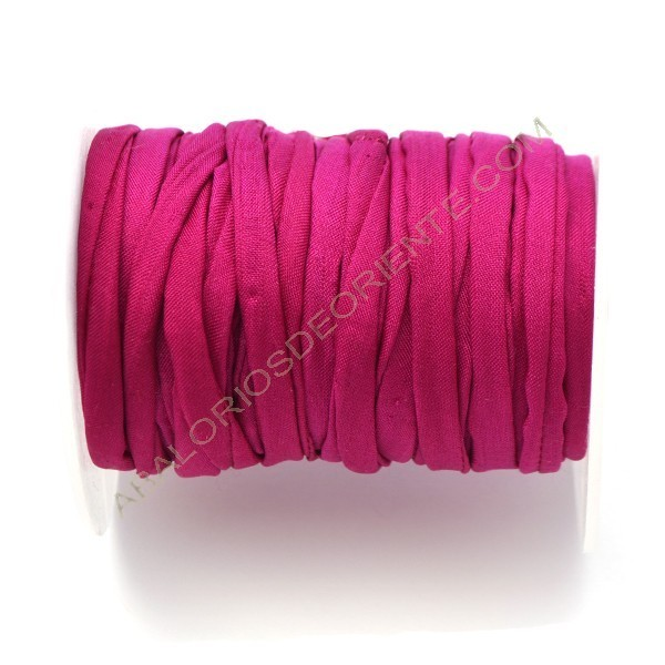Cordón de seda natural india Habotai fucsia 5 mm