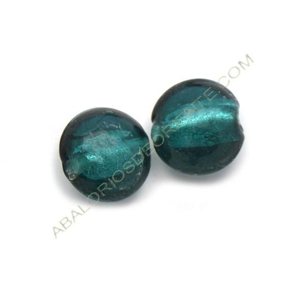 Cuenta de cristal de Murano redonda verde mar