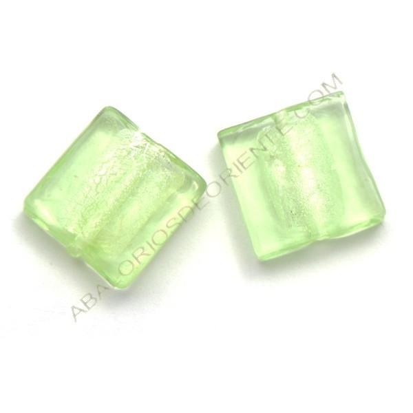Cuenta de cristal de Murano cuadrado verde 20 mm