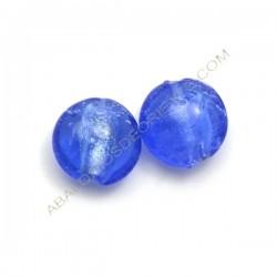 Cuenta de cristal de Murano redonda azul 15 mm 2