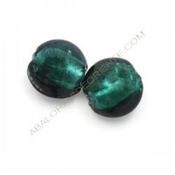 Cuenta de cristal de Murano redonda verde mar 15 mm