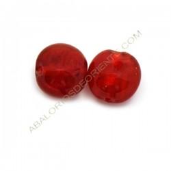 Cuenta de cristal de Murano redonda roja 15 mm