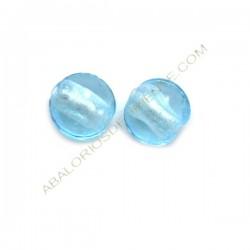 Cuenta de cristal de Murano plana redonda Azul cielo 12 mm