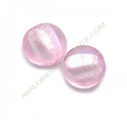 Cuenta de cristal de Murano redonda rosa 15 mm