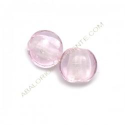 Cuenta de cristal de Murano plana redonda rosa 12 mm