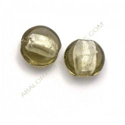 Cuenta de cristal de Murano redonda gris 15 mm
