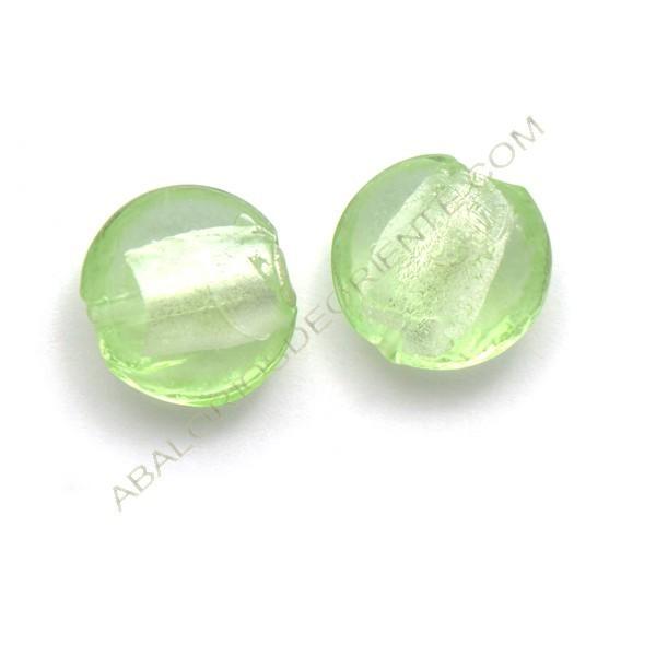 Cuenta de cristal de Murano redonda verde claro 15 mm