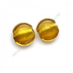 Cuenta de cristal de Murano plana redonda miel 15 mm