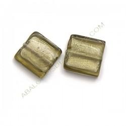 Cuenta de cristal de Murano cuadrada gris 20 mm