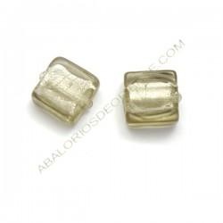 Cuenta de cristal de Murano cuadrada gris 10 mm