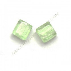 Cuenta de cristal de Murano cuadrada verde claro 10 mm