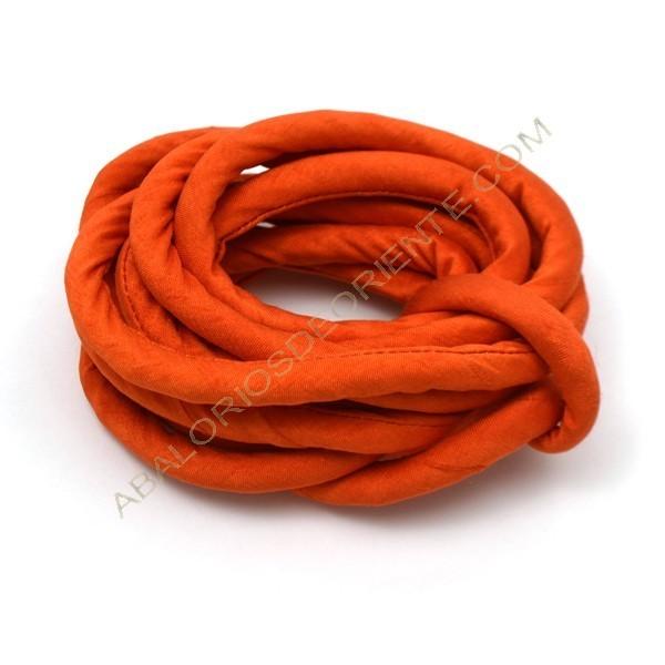 Cordón de seda natural india relleno 8 mm naranja de 2 metros