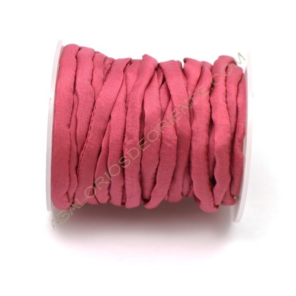 Cordón de seda natural india Habotai rosa 5 mm