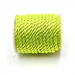Cordón trenzado de algodón verde flúor 4 mm