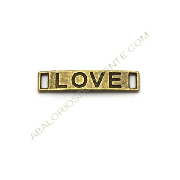 """Conector de metal rectangular bronce """"LOVE"""""""