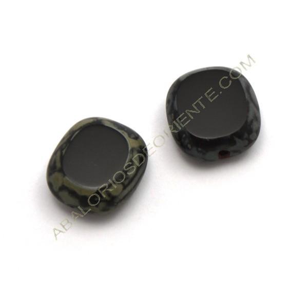 Cuenta de cristal de Bohemia rectangular plana negra 17 x 15 mm