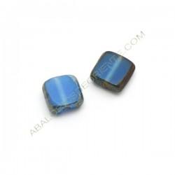 Cuenta de cristal de Murano cuadrada plana azul con reborde 13 mm