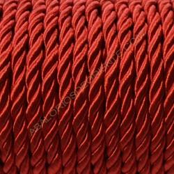 Cordón trenzado de algodón rojo 4 mm