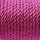Cordón trenzado de algodón rosa fucsia 4 mm