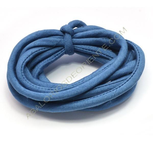 Cordón de seda natural india relleno 4 mm azul de 2 metros