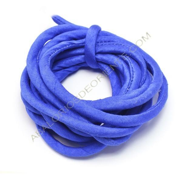 Cordón de seda natural india relleno 4 mm azul zafiro de 2 metros