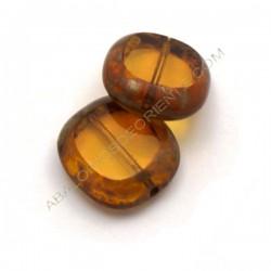 Cuenta de cristal de Bohemia rectangular plana ámbar 17 x 15 mm
