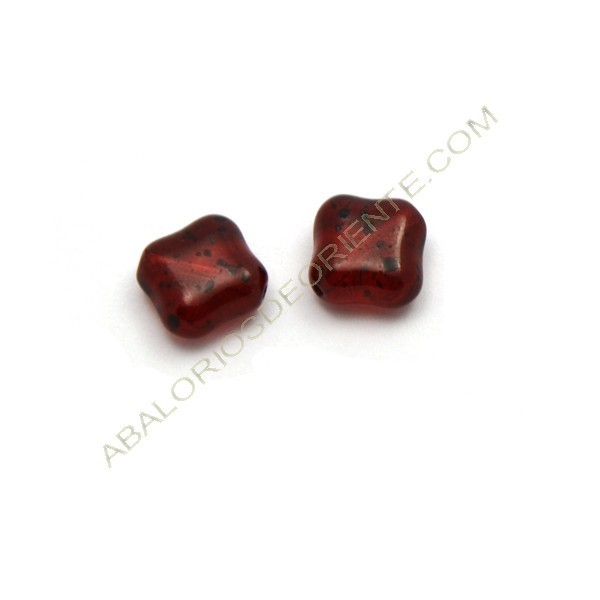 Cuenta de cristal de Bohemia rombo plano roja 11 mm