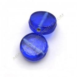 Cuenta de cristal indio plana redonda azul