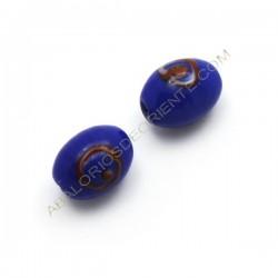 Fancy glass indio azul tonel 13 x 10 mm