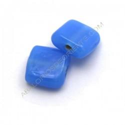 Cuenta de cristal de Murano cuadrada plana mate azul 13 mm