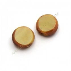 Cuenta de cristal de Murano redonda plana beige y marrón