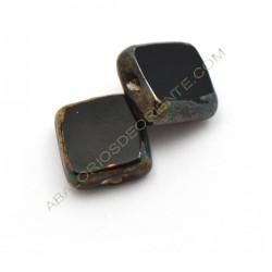 Cuenta de cristal de Murano cuadrada plana negra y metal
