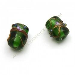 Cuenta de cristal de Murano canutillo verde decorada