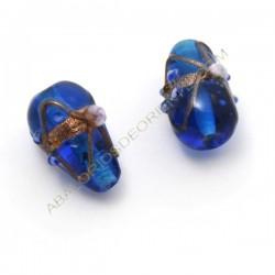 Cuenta de cristal de Murano lágrima azul decorada