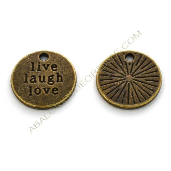 """Colgante redondo de aleación de Zinc """"live laugh love""""."""