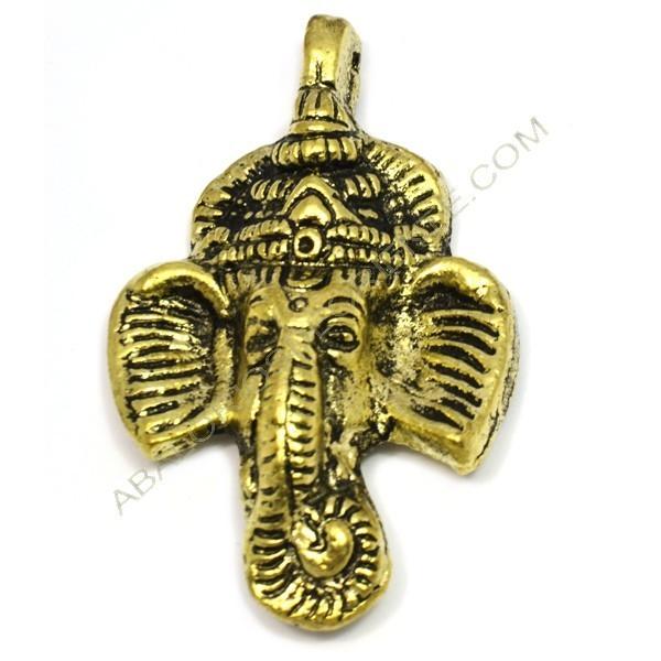 Colgante de metal oro viejo cabeza de elefante