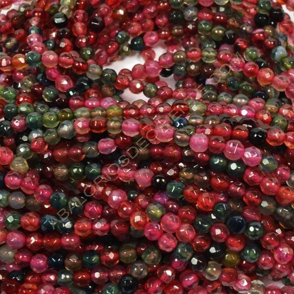 Ágata multicolor facetada redonda de 4 mm