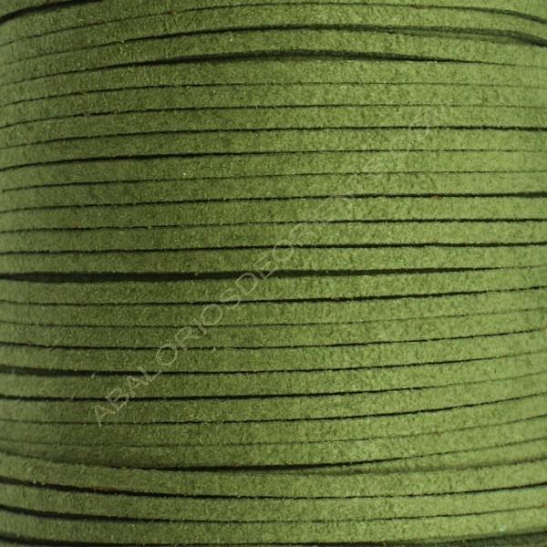 Cordón de ante verde militar 3 x 1.5 mm
