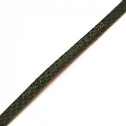 Cuero plano imitación serpiente verde