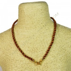 Cordón indio para collar trenzado rojo y dorado