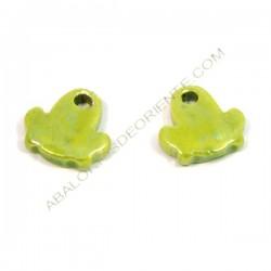 Colgante de cerámica rana verde