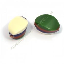 Cuenta de resina Twist verde, rosa, blanco y morado
