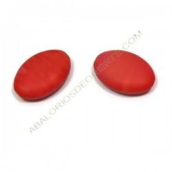 Oval plana de cristal de Bohemia rojo coral 20 x 14 mm