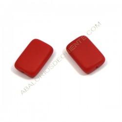 Cuenta de cristal de Bohemia rectangular plana roja 15 x 10 mm