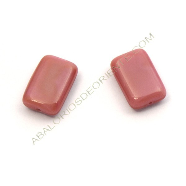 Cuenta de cristal de Bohemia rectangular plana rosa 15 x 10 mm