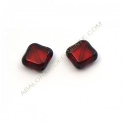 Rombo plano de cristal Bohemia 11 x 11 mm rojo rubí