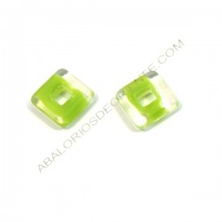 Cuadrado de cristal de Bohemia 12 mm verde